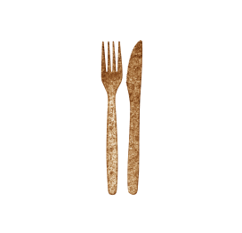 Kniv och gaffel av vetekli och PLA Knife and fork of wheat bran and PLA Komposterbar